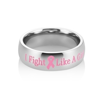 """I Fight Like a Girl"" Stainless Steel Pink Ribbon Ring"