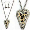 Gray Beaded Cheetah Print Heart Necklace & Earring Set