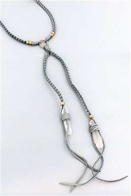 Gray Braided Faux Leather and Quartz Choker