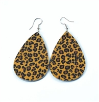Gold & Brown Leopard Tear Drop Earrings