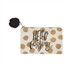 Hello Gorgeous Gold Polka Dot Makeup Bag