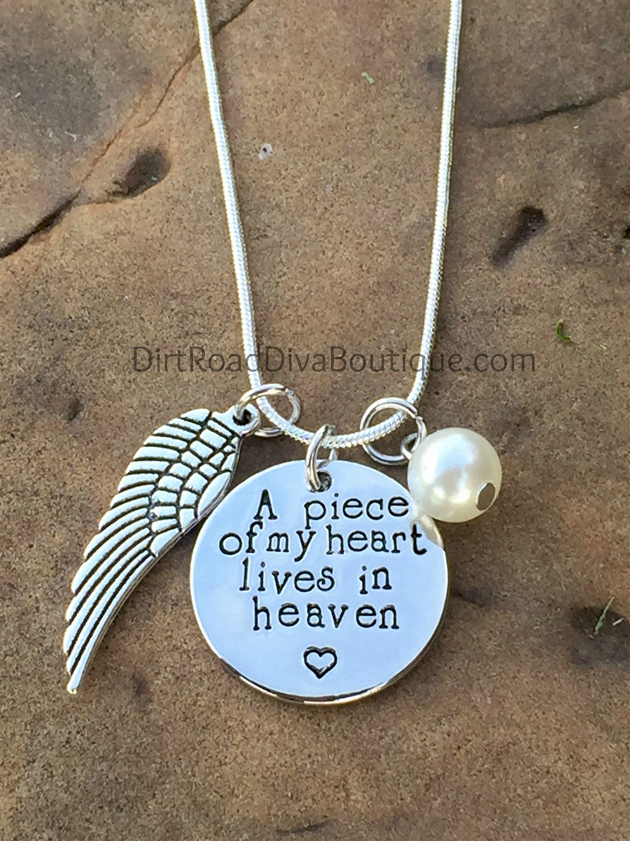 f03a133e49af4 A Piece of My Heart Lives In Heaven Necklace ~