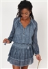 Indigo Long Sleeve Smocked Waist Tunic Top