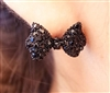 Little Black Bow Crystal Stud Fashion Earring Set