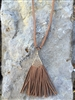 "32"" Long Brown Suede Tassel Necklace"