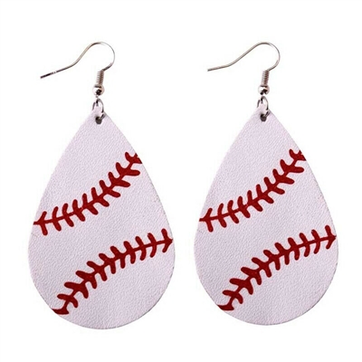 Leather Teardrop Baseball Earrings