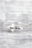 Matthew 28:19 Baptism Scripture Cross Bracelet