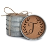Monogram Letter T Mason Jar Lid 4 Piece Coaster Set
