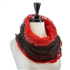 Mohair Infinity Scarf - Black / Red
