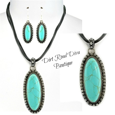 Navajo Inspired Pendant & Earring Set
