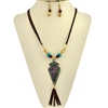 Patina Arrowhead Tassel Necklace & Earring Set