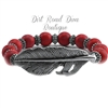 Red Bead Feather Bracelet