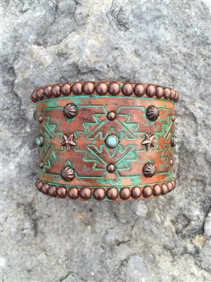 rowdy cowgirl bronze and turquoise bracelet