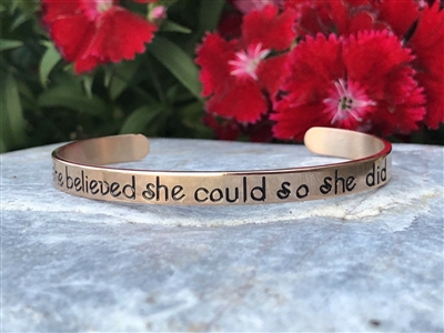 She Believed She Could So She Did Rose Gold Bracelet