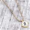 Worn Two-Tone Monogram Letter F Necklace