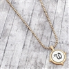 Worn Two-Tone Monogram Letter W Necklace