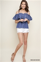 UMGEE Shoulder Straps Denim Blouse
