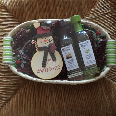 Seasonal Decorative item with 2oz Olive Oil and Vinegar