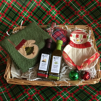 Seasonally decorated Tasting Dish/Towel with Olive Oil and Vinega