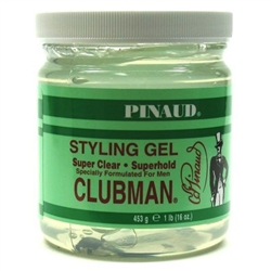"Clubman Style Gel Super Clear Super Hold 16oz Jar (17085)<br> <span style=""color:#FF0101"">(ON SPECIAL 12% OFF)</span style><br><span style=""color:#FF0101""><b>12 or More=Special Unit Price $2.70</b></span style><br>Case Pack Info: 12 Units"