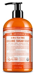"Dr. Bronners Organic Sugar Soap 12oz Tea Tree Pump (20167)<br><br><span style=""color:#FF0101""><b>12 or More=Unit Price $5.96</b></span style><br>Case Pack Info: 12 Units"