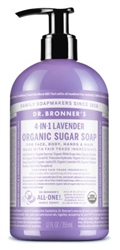 "Dr. Bronners Organic Sugar Soap 12oz Lavender Pump (20178)<br><br><span style=""color:#FF0101""><b>12 or More=Unit Price $5.96</b></span style><br>Case Pack Info: 12 Units"