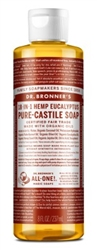"Dr. Bronners Eucalyptus 8oz Castile Soap (20238)<br><br><span style=""color:#FF0101""><b>12 or More=Unit Price $4.38</b></span style><br>Case Pack Info: 24 Units"