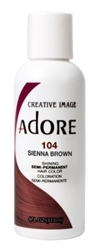 "Adore Semi-Permanent Haircolor #104 Sienna Brown 4oz (45510)<br><br><span style=""color:#FF0101""><b>Buy 6 or More = $2.95</b></span style><br>Case Pack Info: 12 Units"
