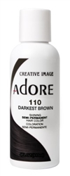 "Adore Semi-Permanent Haircolor #110 Darkest Brown 4oz (45514)<br><br><span style=""color:#FF0101""><b>Buy 6 or More = $2.95</b></span style><br>Case Pack Info: 12 Units"