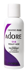 "Adore Semi-Permanent Haircolor #114 Violet Gem 4oz (45517)<br><br><span style=""color:#FF0101""><b>Buy 6 or More = $2.95</b></span style><br>Case Pack Info: 12 Units"