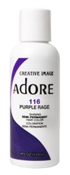 "Adore Semi-Permanent Haircolor #116 Purple Rage 4oz (45518)<br><br><span style=""color:#FF0101""><b>Buy 6 or More = $2.95</b></span style><br>Case Pack Info: 12 Units"