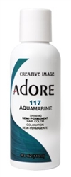 "Adore Semi-Permanent Haircolor #117 Aquamarine 4oz (45519)<br><br><span style=""color:#FF0101""><b>Buy 6 or More = $2.95</b></span style><br>Case Pack Info: 12 Units"