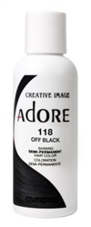 "Adore Semi-Permanent Haircolor #118 Off Black 4oz (45520)<br><br><span style=""color:#FF0101""><b>Buy 6 or More = $2.95</b></span style><br>Case Pack Info: 12 Units"