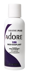 "Adore Semi-Permanent Haircolor #186 Rich Eggplant 4oz (45533)<br><br><span style=""color:#FF0101""><b>6 or More=Unit Price $3.04</b></span style><br>Case Pack Info: 12 Units"