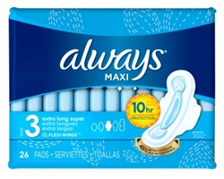 Always Pads Size 3 Maxi 26 Count Xtra Long Super (51520)<br><br><br>Case Pack Info: 3 Units