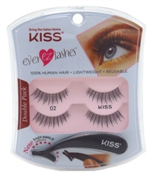 "Kiss Ever Ez 02 Lashes Double Pack (59982)<br><br><span style=""color:#FF0101""><b>Buy 12 or More = $3.80</b></span style><br>Case Pack Info: 36 Units"