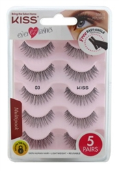 "Kiss Ever Ez 03 Lashes 4 + 1 Pairs (59986)<br><br><span style=""color:#FF0101""><b>Buy 12 or More = $8.86</b></span style><br>Case Pack Info: 36 Units"