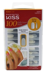 "Kiss 100 Full Cover Nails Active Oval (Medium Length) (60069)<br><br><span style=""color:#FF0101""><b>Buy 12 or More = $3.84</b></span style><br>Case Pack Info: 36 Units"