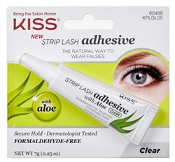 "Kiss Strip Lash Adhesive With Aloe (Clear) (60432)<br><br><span style=""color:#FF0101""><b>Buy 12 or More = $1.91</b></span style><br>Case Pack Info: 36 Units"