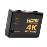 HDMI Switcher Electronic Manual/Automatic 3-Way Switch 3D, 4K and 1080P