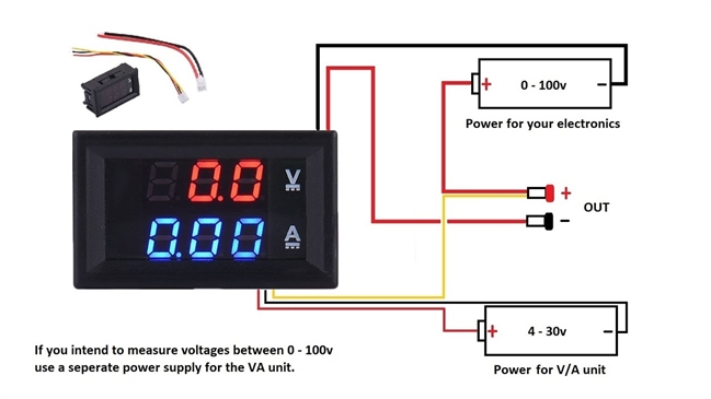 DC Dual Voltmeter Ammeter Blue Red LED < 100VDC, 10A Digital Audio