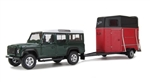 Die-Cast For Land Rover Defender 110 in Green with Horse Box - Scale 1:43