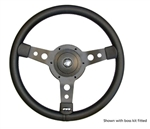 "Steering Wheel by Mountney - 15"" Black Vinyl with Black Spokes For 36 Land Rover Series"