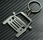 Key Ring - For Land Rover Discovery Front View Keyring in 2mm Brushed Stainless Steel