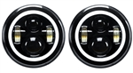 "Def RHD Black Full Halo LED Headlights 7"" Pair (E Marked) (S)"