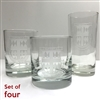 Etched Glasses with School Shield and logo.