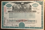 Pan Am Pan American World Airways Stock Certificate (Aqua)