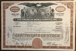 Pan Am Pan American World Airways Stock Certificate (Brown)