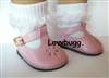 Lovvbugg Lace Socks with Pink T Strap Mary Janes for American Girl 18 inch and Bitty Baby 15 inch Doll Clothes Shoes
