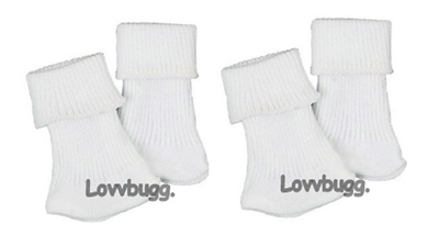 Lovvbugg 2 Pairs White Socks 18 inch Girl or Baby Doll Clothes or Preemie Baby Accessory